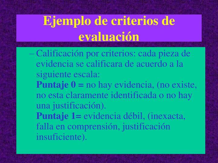 Ejemplo de criterios de evaluación