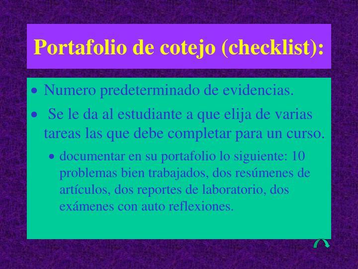 Portafolio de cotejo (checklist):