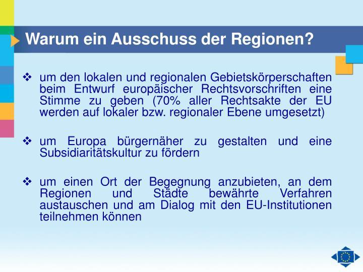 Warum ein Ausschuss der Regionen?