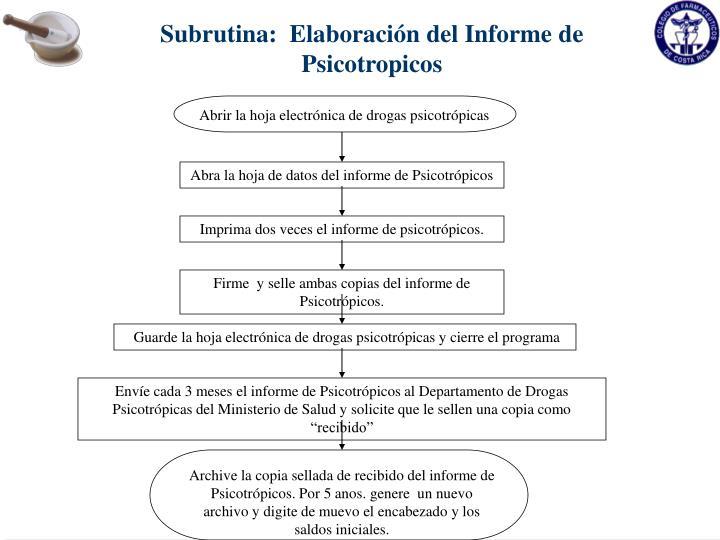 Subrutina:  Elaboración del Informe de Psicotropicos