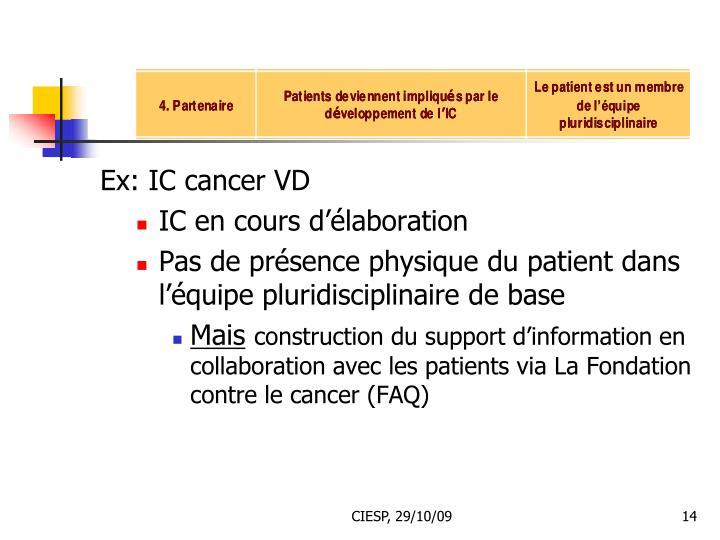 Ex: IC cancer VD