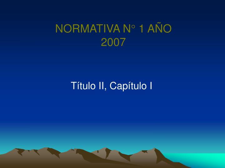 NORMATIVA N° 1 AÑO 2007