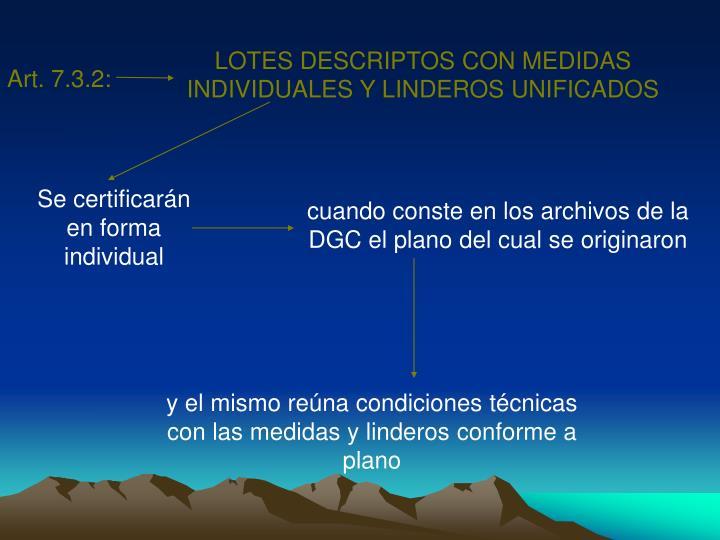 LOTES DESCRIPTOS CON MEDIDAS INDIVIDUALES Y LINDEROS UNIFICADOS