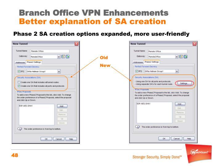 Branch Office VPN Enhancements