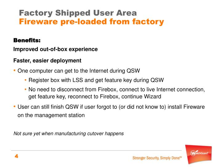 Factory Shipped User Area