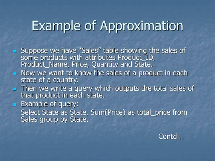 Example of Approximation