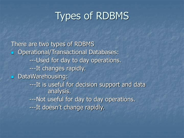 Types of RDBMS