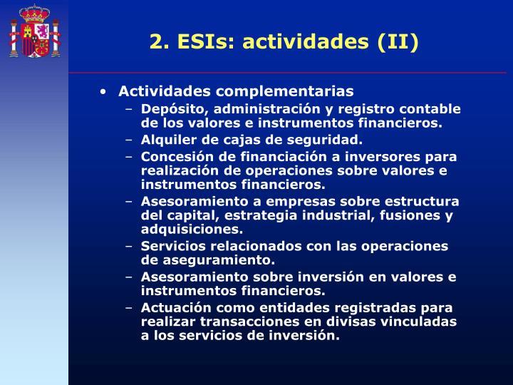 2. ESIs: actividades (II)