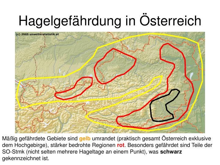 Hagelgefährdung in Österreich