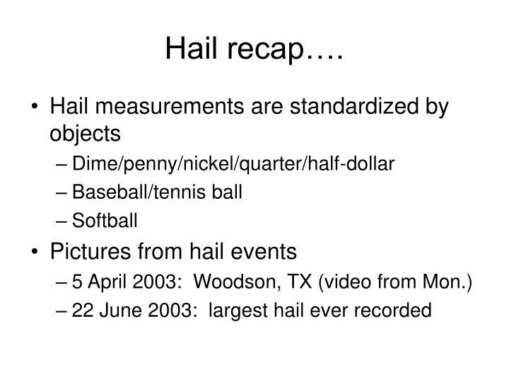 Hail recap….