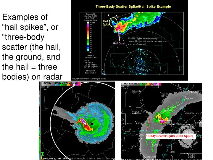 """Examples of """"hail spikes"""", or """"three-body scatter (the hail, the ground, and the hail = three bodies) on radar"""