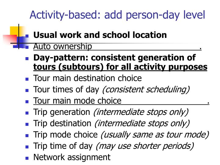 Activity-based: add person-day level