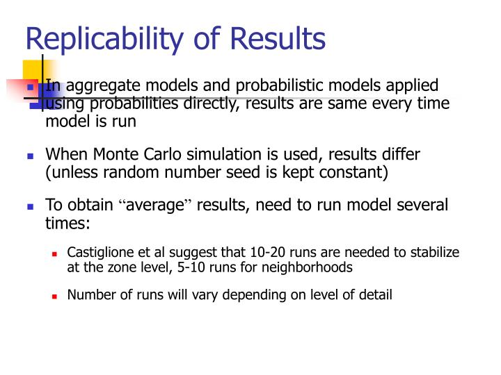Replicability of Results