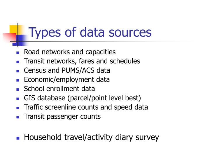 Types of data sources