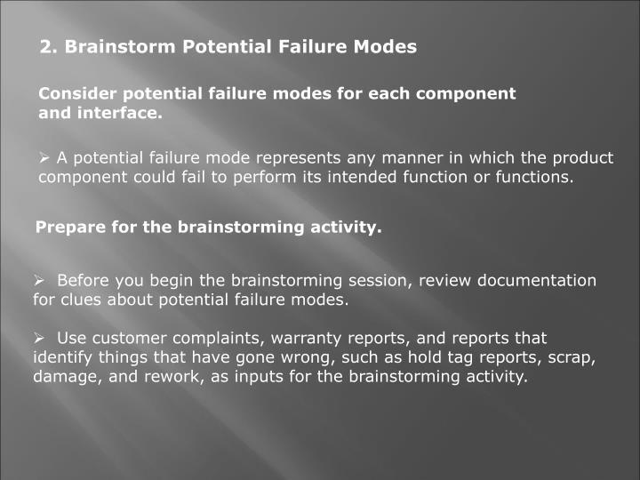 2. Brainstorm Potential Failure Modes