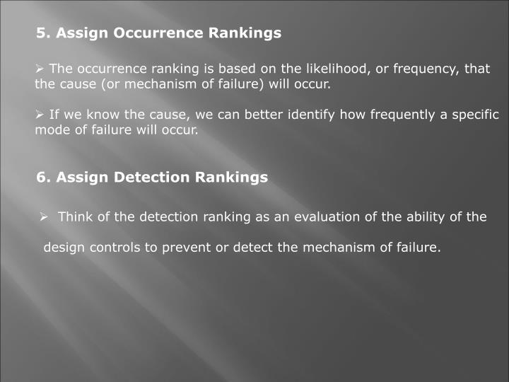 5. Assign Occurrence Rankings