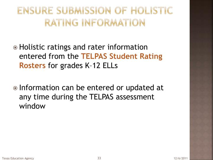 Ensure submission of holistic rating information