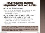 holistic rating training requirements for k 12 raters