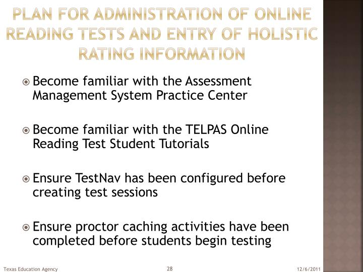 Plan for administration of online reading Tests and entry of holistic rating information