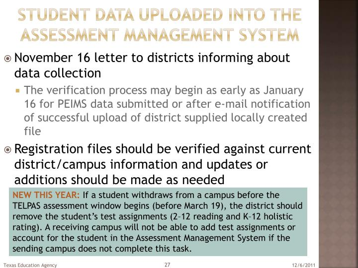 Student data uploaded into the assessment management system