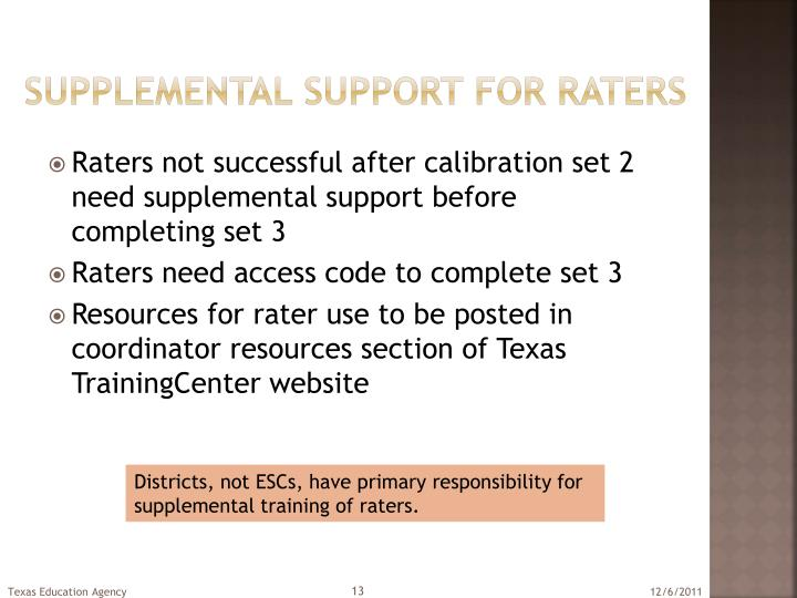 Supplemental support for raters
