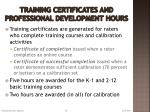 training certificates and professional development hours
