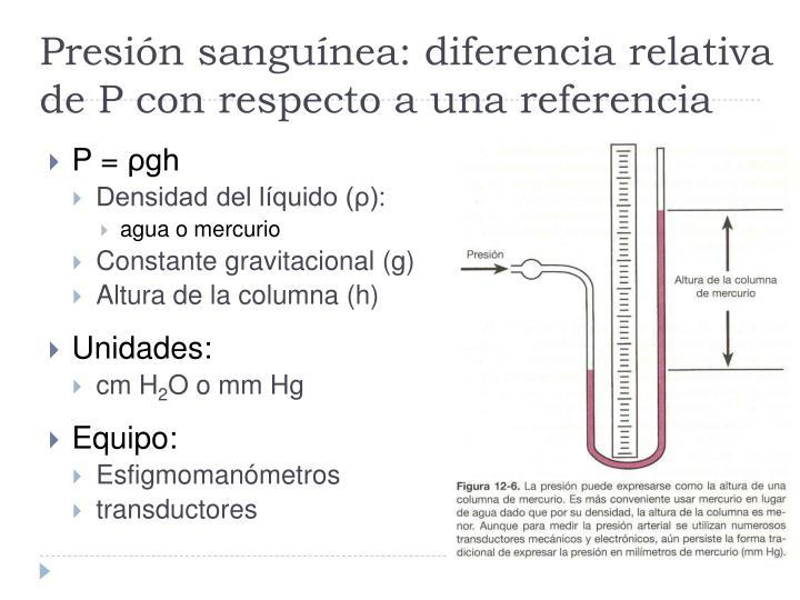 Presión sanguínea: diferencia relativa de P con respecto a una referencia