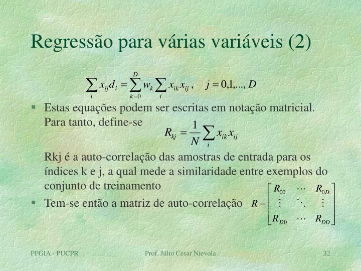 Regressão para várias variáveis (2)