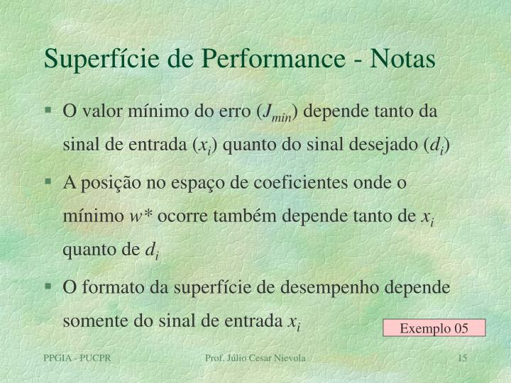 Superfície de Performance - Notas