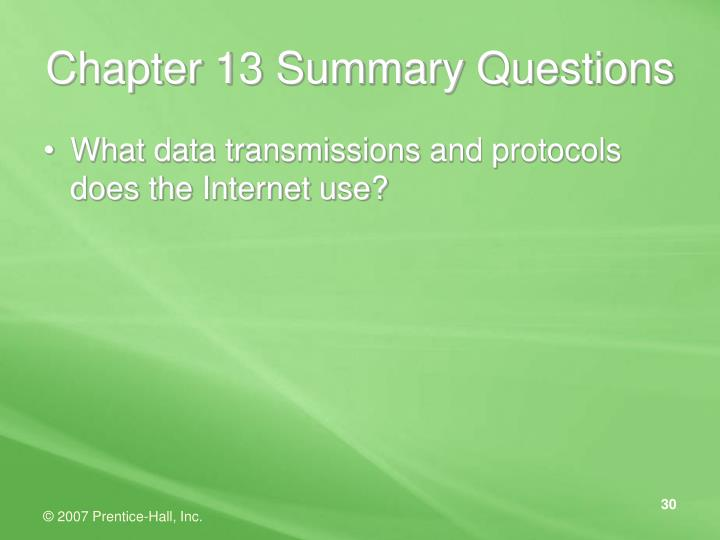 Chapter 13 Summary Questions