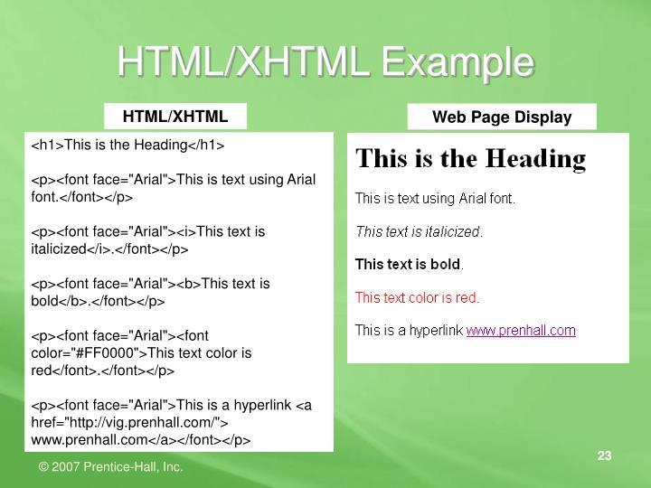 HTML/XHTML Example