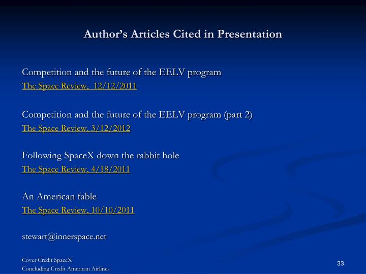 Author's Articles Cited in Presentation