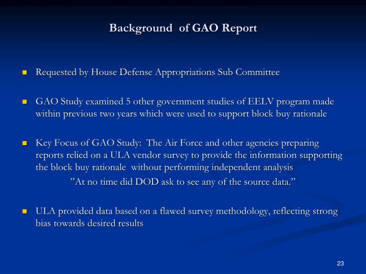 Background  of GAO Report