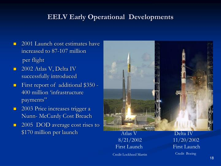EELV Early Operational  Developments