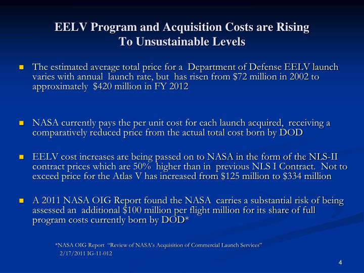 EELV Program and Acquisition Costs are Rising