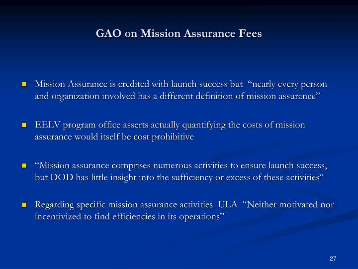 GAO on Mission Assurance Fees