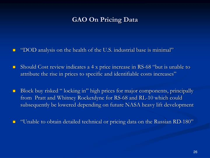 GAO On Pricing Data