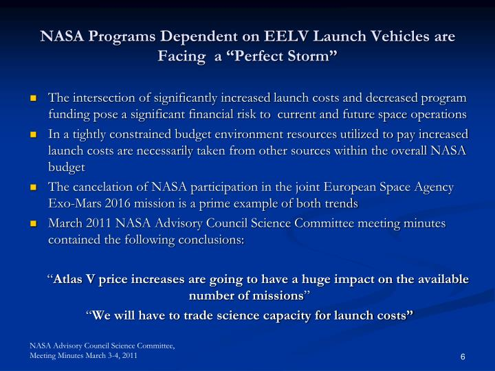 "NASA Programs Dependent on EELV Launch Vehicles are Facing  a ""Perfect Storm"""