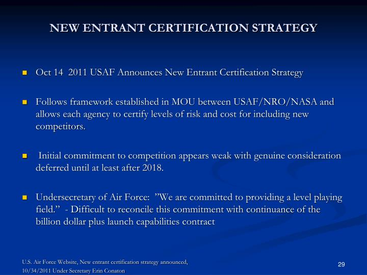 NEW ENTRANT CERTIFICATION STRATEGY