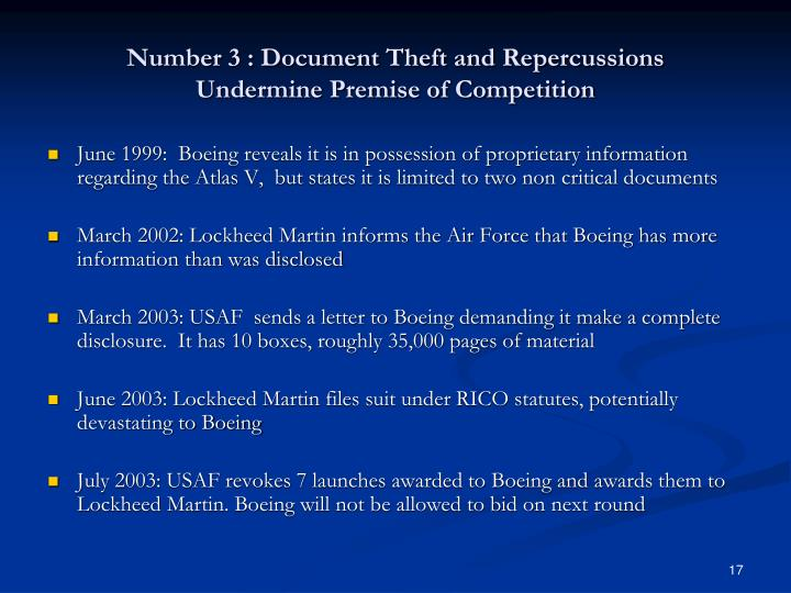 Number 3 : Document Theft and Repercussions