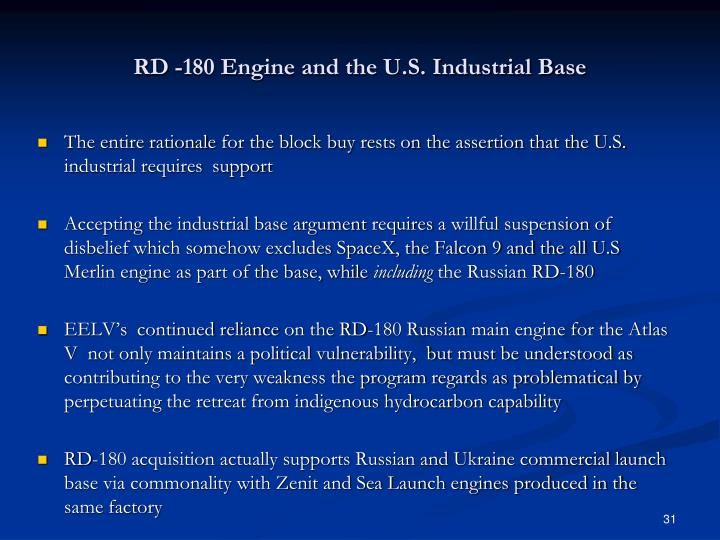RD -180 Engine and the U.S. Industrial Base