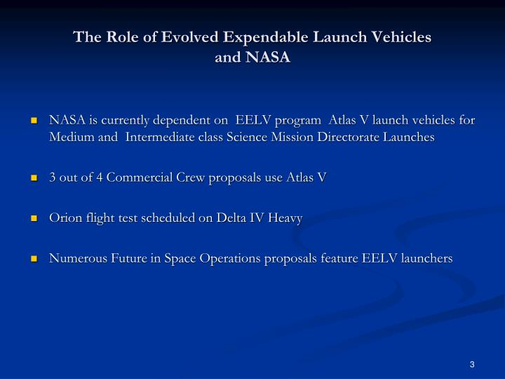 The role of evolved expendable launch vehicles and nasa