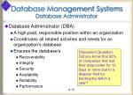 database management systems database administrator