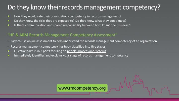 Do they know their records management competency?