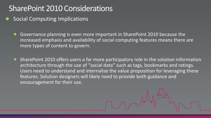 SharePoint 2010 Considerations