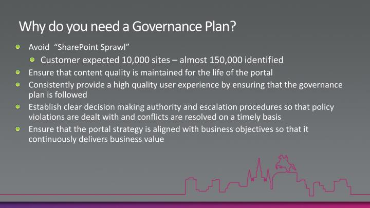 Why do you need a Governance Plan?