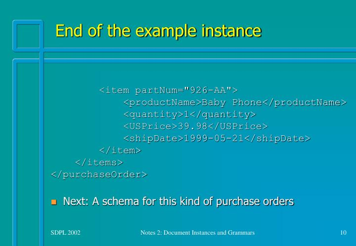 End of the example instance