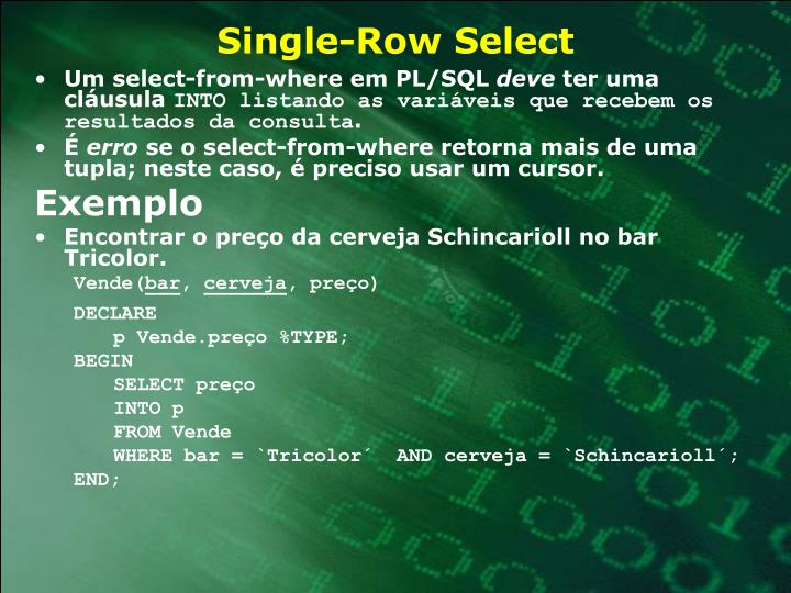 Single-Row Select