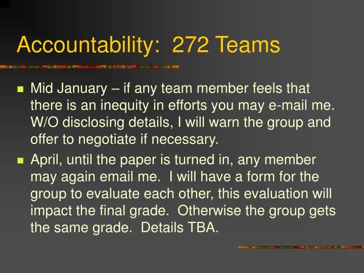 Accountability:  272 Teams