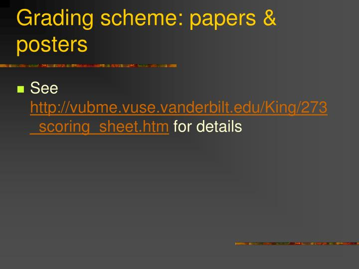 Grading scheme: papers & posters